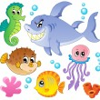 Sea fishes and animals collection 4 — Stock Vector