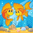 Two cute goldfishes — Stock Vector
