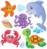3, coleção de peixes e animais do mar — Vetorial Stock