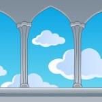 Castle window view on blue sky — Stock Vector