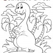 Coloring book dinosaur scene 2 — Stock Vector
