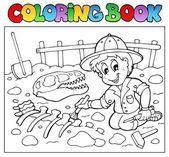 Coloring book dinosaur excavator — Stock Vector