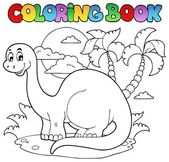 Coloring book dinosaur scene 1 — Stock Vector