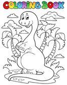 Coloring book dinosaur scene 2 — Stock Vector