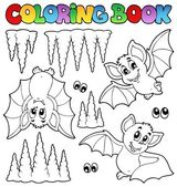 Coloring book with bats — Stock Vector