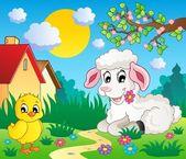 Scene with spring season theme 4 — Stock Vector