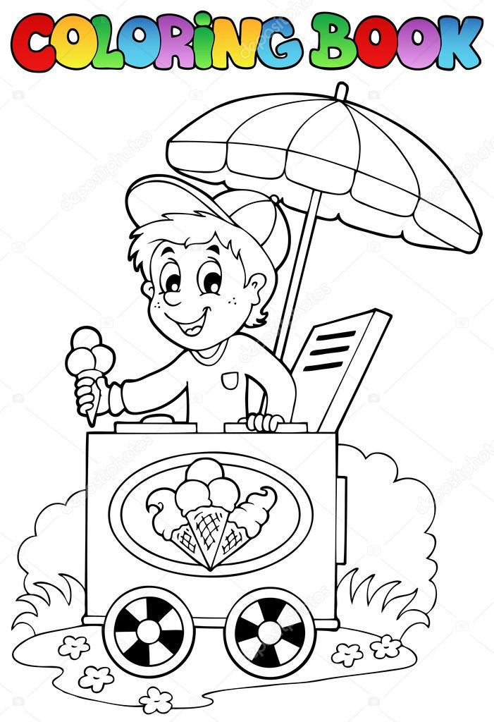 Coloring book with ice cream man - vector illustration.  Stock Vector #9875403