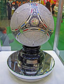 Metal brilliant football ball under glass box, EURO 2012 object. — Stock Photo
