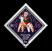 USSR - CIRCA 1989: russian Santa Claus with firtree on folktale horse. — Stok fotoğraf