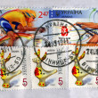 Mail postal stamps heap diversity, ukrainian post paper details. — Stock Photo