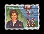First russian, soviet astronaut Valentina Tereshkova, rocket shuttle. — Stock Photo