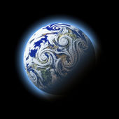 Abstract wind hurricane heap over blue planet with atmosphere. — Stock Photo