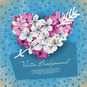 Coração de flores de um lilás — Vetorial Stock