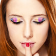 Close-up portrait of redhead girl with make-up. — Stock Photo #10158969