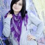 Teen girl near graffiti wall — Stock Photo #10287464