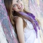 Style teen girl near graffiti wall. — Stock Photo #10287597