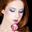 Portrait of beautiful redhead girl with style make-up. — Stock Photo #10549413