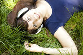 Teen girl at the green park. — Stock Photo