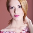 Portrait of beautiful redhead girl with style make-up. — Stock Photo #10619783