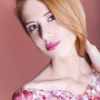 Portrait of beautiful redhead girl with style make-up. — Stock Photo #10619784