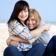 Two girls at outdoor near sea — Stock Photo #7980518