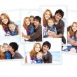 Collage photos of family at the beach. — Stock Photo