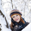 Stock Photo: Beautiful young red-haired woman in winter park