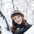 Beautiful young red-haired woman in winter park — Stock Photo #8319081