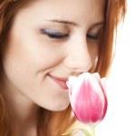Girl with tulip. — Stock Photo