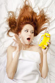Oversleep girl in bed — Stock Photo