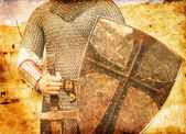 Photo of Knight and sword. Photo in old image style. — Stok fotoğraf