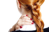 Businesswomen with neck pain — Stock Photo