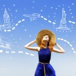 Redhead girl dreaming about traveling around the world. — Stock Photo