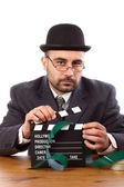 Man holding movie clapboard — Stock Photo