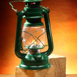 Green oil lamp — Stock Photo