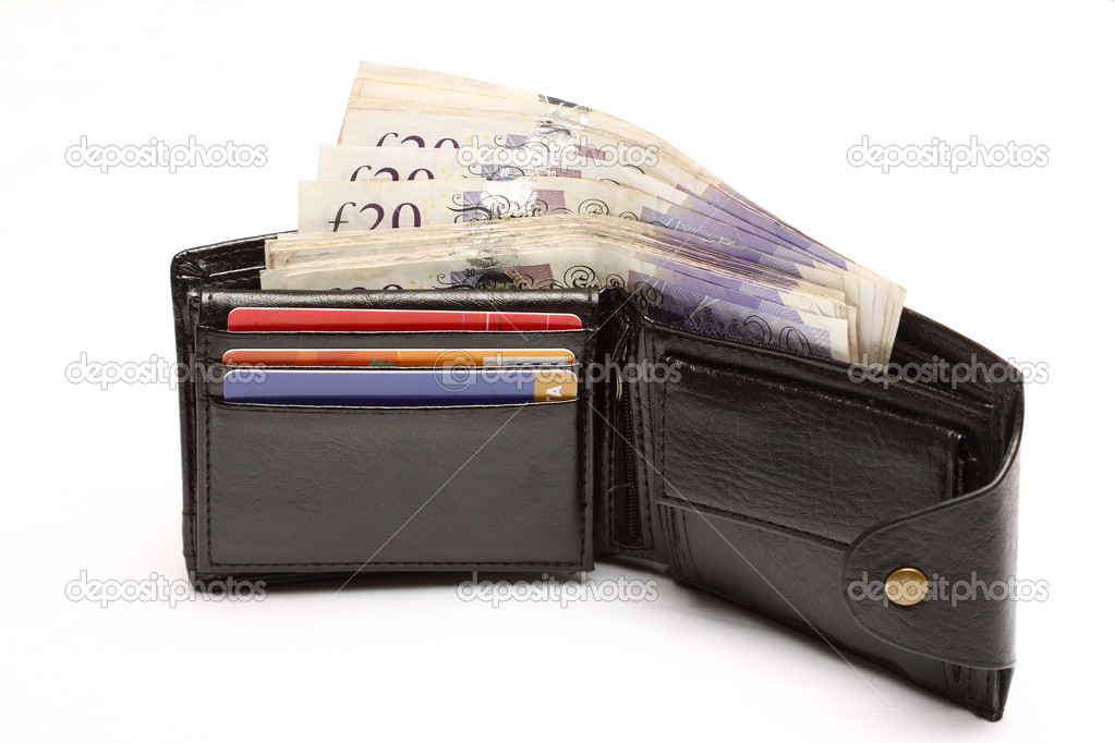 Open leather wallet with cash over white — Stock Photo #9741406