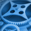 A Mechanical blue Background with Gears and Cogs 3D render ( high resolutio — Foto de Stock