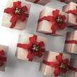 Many white gift boxes with red ribbon and bow background 3d render ( high r — Stock Photo