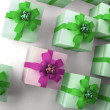 Many white gift boxes with green ribbon and bow background 3d render ( high — Stock Photo
