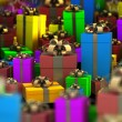 Many color gift boxes background 3D render ( high resolution ) — ストック写真
