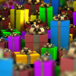 Many color gift boxes background 3D render ( high resolution ) — Lizenzfreies Foto