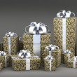 Many gift boxes with ribbon isolated on black background 3D render ( high r — 图库照片
