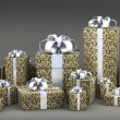 Many gift boxes with ribbon isolated on black background 3D render ( high r — Zdjęcie stockowe
