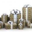 Many gift boxes with ribbon isolated on white background 3D render ( high r — Stock Photo