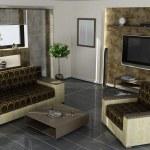Modern home interior 3d rendering. high resolution — Stock Photo