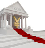 Bank building with a gold symbol Japanese yen 3d isolated on white — Стоковое фото