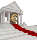 Bank building with a gold symbol Euro 3d isolated on white — Photo