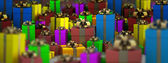 Many color gift boxes background 3D render ( high resolution ) — Foto Stock