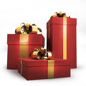 Red gift boxes with gold ribbon and bow isolated on white background 3d ren — Stock Photo