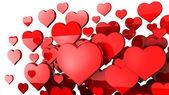 Muchos corazones rojos fondo 3d — Foto de Stock